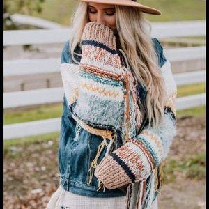 New TBN POL Sukie Knit Sleeve Sweater Denim Jacket